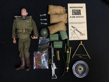 VINTAGE ACTION MAN - INFANTRY SUPPORT HEAVY WEAPONS (Brown Painted Hair) ref3